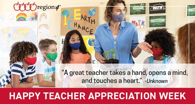 "Happy Teacher Appreciation Week! ""A great teacher takes a hand, opens a mind, and touches a heart"" --unknown"