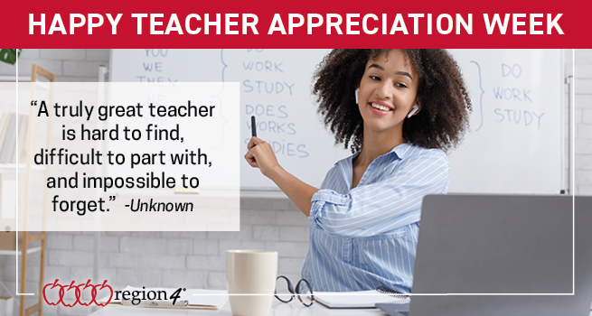 "Happy Teacher Appreciation Week! ""A truly great teacher is hard to find, difficult to part with, and impossible to forget."" --unkown"